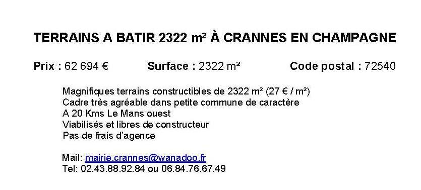 Terrain à construire, Crannes-en-Champagne